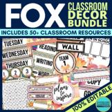 FOX THEME Classroom Decor EDITABLE