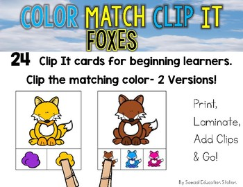 FOXES Color Match Clip It {A Beginning Work Task)