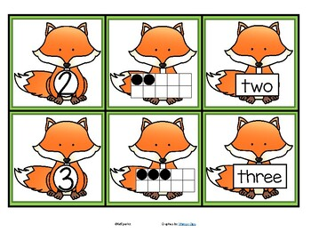 FOXES Theme Numbers Cards 0-20 - Numeral, 10-frame, Number Name FREE