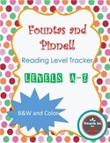 F&P Reading Level Tracker (Levels A-Z) FREEBIE!