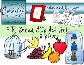 FR Blend Phonics Clip Art Set - Color and Line Art 8 pc set