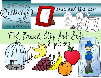 FR Blend Phonics Clip Art Set - Color and Line Art 8 pc set