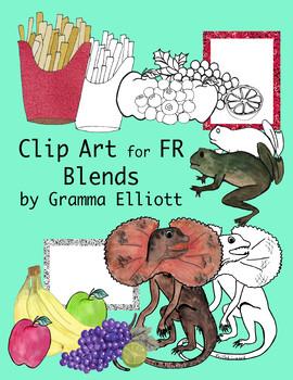FR Blends Color and Black Line Clip Art