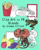 FR Blends Color and Black Line Phonics Clip Art