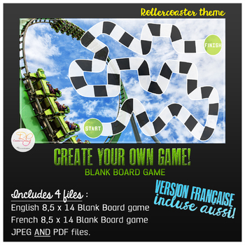 FR-ENG  Rollercoaster theme BLANK BOARD GAME