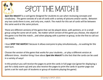 FRACTION AND DECIMAL EQUIVALENTS  VIRGINIA SOL Grade 4 and up SPOT the Match