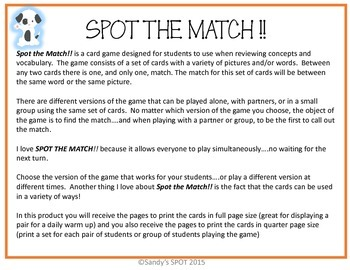 FRACTION AND DECIMAL EQUIVALENTS  VIRGINIA SOL Grade 5 and up SPOT the Match