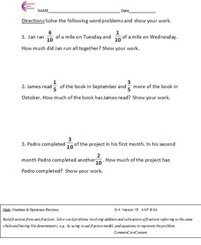FRACTION AND RATIO Word Problems All Standards and All Operations Grades 3,4,5,6