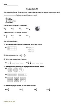 FRACTION Unit Test and Quiz (2)