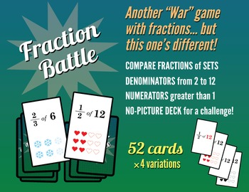 FRACTION BATTLE War Card Game