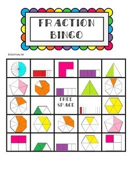 FRACTION BINGO:  IDENTIFYING FRACTIONS