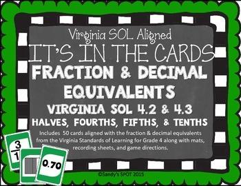 FRACTION DECIMAL EQUIVALENTS VIRGINIA SOL GRADE 4 CARDS