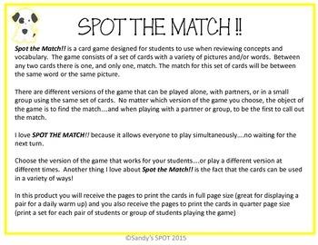 FRACTION DECIMAL PERCENT EQUIVALENTS  VIRGINIA SOL Grade 6 and up SPOT the Match