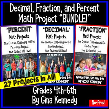 Math Fraction, Decimal, & Percent Enrichment Projects For
