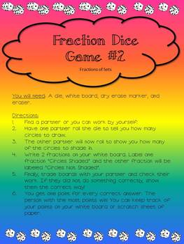 FRACTION DICE GAMES- NO SET UP NEEDED!