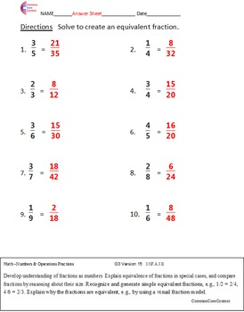 FRACTION EQUIVALENCE Common Core Math Worksheets 3.NF.A.1, 4.NF.A.1