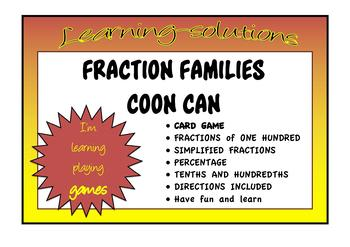EQUIVALENCE - FRACTIONS/PERCENTAGE/DECIMALS - COON CAN CARD GAME