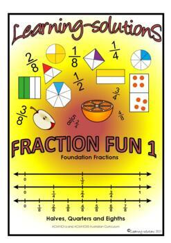 FRACTION FUN 1 - A Workbook and 50 Task Cards - halves, quarters and eighths