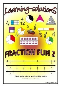 FRACTION FUN 2 - A Workbook and 50 Task Cards - thirds, si