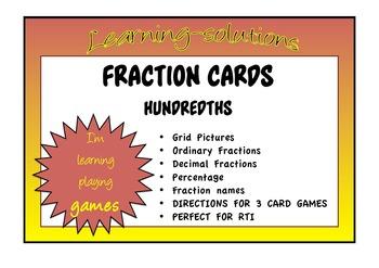 FRACTION CARDS HUNDREDTHS - Decimal/Percentage/Fraction/Picture - EQUIVALENCE