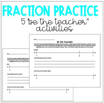 """FRACTION PRACTICE! 5 """"Be the Teacher"""" Activities!"""