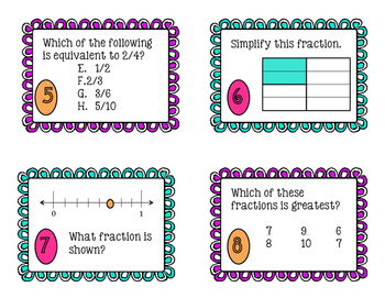 FRACTION Scoot/Task Cards- 4th - Compare/Simplify/Add