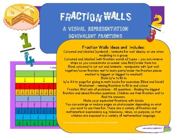 FRACTION WALLS - EQUIVALENT FRACTIONS  WITH FRACTION FOLLOW ON TASKS