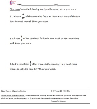 FRACTIONS 3NF, 4NF, 5NF, 6RPA All Fraction Standards Common Core Math Worksheets