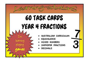 FRACTION TASK CARDS - Year 4 Level Skills - 60 Task Cards