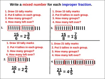 Fractions: Improper Fractions and Mixed Numbers (animated guided practice)
