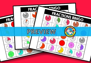 CIRCLE FRACTIONS GAME: FRACTIONS BINGO GAME FOR WHOLE CLASS: FRACTION ACTIVITIES