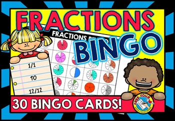 CIRCLE FRACTIONS GAME: FRACTIONS BINGO GAME FOR WHOLE CLAS