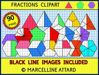 PENTAGON, HEXAGON AND TRIANGLE FRACTIONS CLIPART (GEOMETRY CLIP ART)