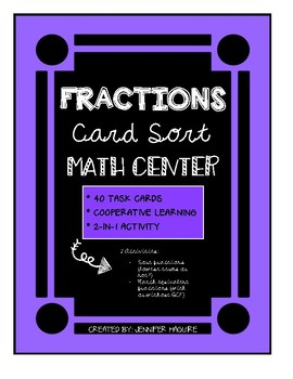 FRACTIONS - Card Sort MATH CENTER
