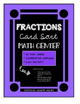 FRACTIONS - Card Sort MATH CENTER