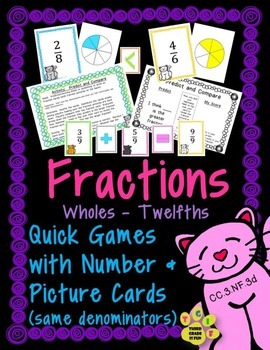 FRACTIONS - Comparing Fractions - Printable Cards & Activities (Whole-Twelfths)