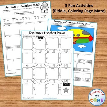 FRACTIONS, DECIMALS, PERCENTS BUNDLE Task Cards, Error Analysis, Word Problems