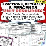 FRACTIONS, DECIMALS, PERCENTS BUNDLE Task Cards, Error Ana