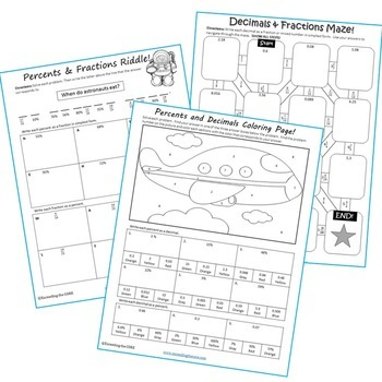 FRACTIONS, DECIMALS & PERCENTS Mazes, Riddles & Coloring Pages (Fun Activities)