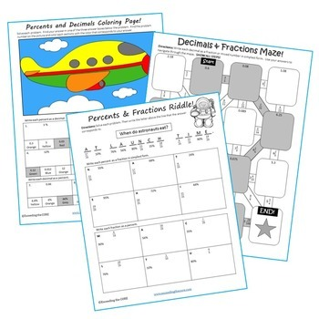 FRACTIONS, DECIMALS & PERCENTS Mazes, Riddles & Color by Number (Fun Activities)