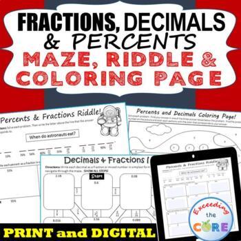 FRACTIONS, DECIMALS & PERCENTS Mazes, Riddles & Coloring P