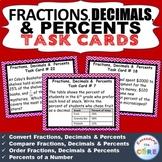 FRACTIONS, DECIMALS, & PERCENTS Word Problems - Task Cards