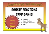 FRACTIONS DONKEY - 2 Card Games - Mixed Numbers and Improper Fractions