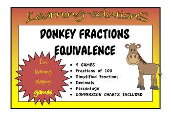 FRACTIONS DONKEY - 6 CARD GAMES - EQUIVALENCE - Decimals/Percentage/Fractions