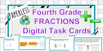 FRACTIONS Digital Task Cards **Google Classroom** Fourth Grade