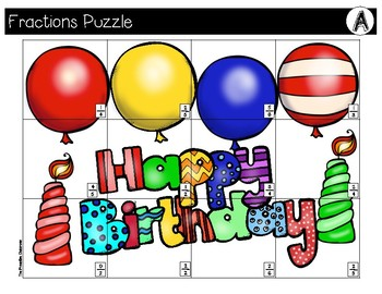 FRACTIONS File Folder Puzzles Birthday Theme