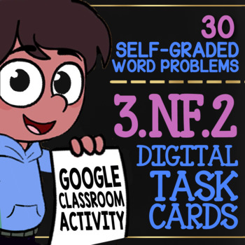 FRACTIONS ON A NUMBER LINE 3rd Grade ★ Google Classroom Math ★ Self-Grade 3.NF.2