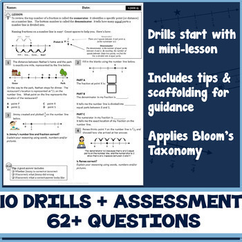 FRACTIONS ON A NUMBER LINE UNIT! Test Prep Practice Drills | Common Core