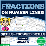 3RD GRADE FRACTIONS ON A NUMBER LINE: 10 Skills-Boosting P