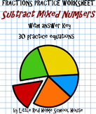 FRACTIONS PRACTICE - Subtracting Mixed Numbers (with Answer Key)